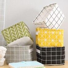 Multifunctional Canvas Folding Makeup  Desktop Cosmetic Organizer Storage Box Wardrobe Drawer Basket