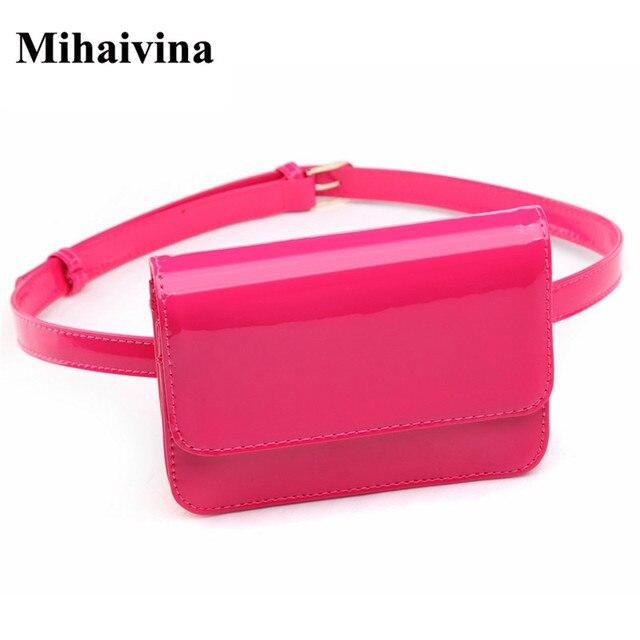 Mihaivina Fashion PU Leather Women Waist Packs Bright Small Belt Waist Bag High Quality Female Bags Hand Free Bag Wholesale