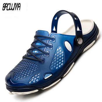 d8a42def31b 2019 새로운 여름 남자 비치 샌들 신발 남자 할로우 슬리퍼 신발 야외 남자 젤리 신발 메쉬
