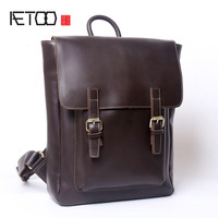 AETOO Men's Travel Backpack Casual Cowhide Computer Bag Europe & America Retro Madness Leather Shoulder Bag College Wind