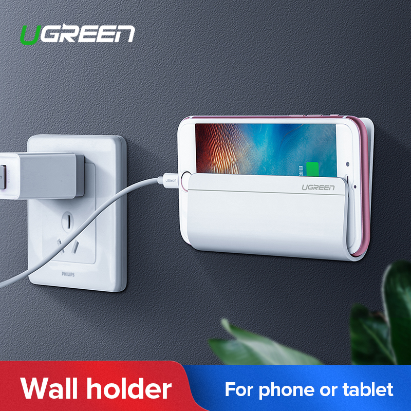 Ugreen Universal Wall Mounted Phone Holder Charging Stand with 3M Adhesive for iPhone 8 X 7 Plus Samsung Galaxy Huawei Tablet