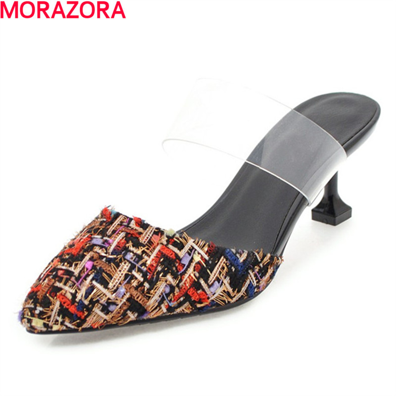 MORAZORA big size 34-43 new summer Shallow mouth fashion pumps party women high heel shoes pointed toe wedding shoes blue extrem high heel shoes 2018 snake printing women shoes fashion shallow mouth pumps woman wedding shoes big size