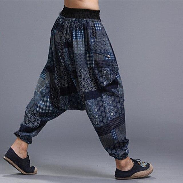 869901c7060 2017 New Men Harem Pants Oversized WOmen Crotch Pants Casual Travel Pants  Bloomers Comfortable Cotton Linen Trousers Plus Size