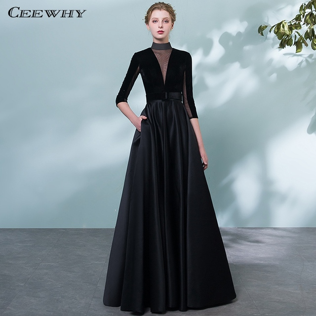CEEWHY High Collar Vintage Black Evening Dress Plus Size Formal ...