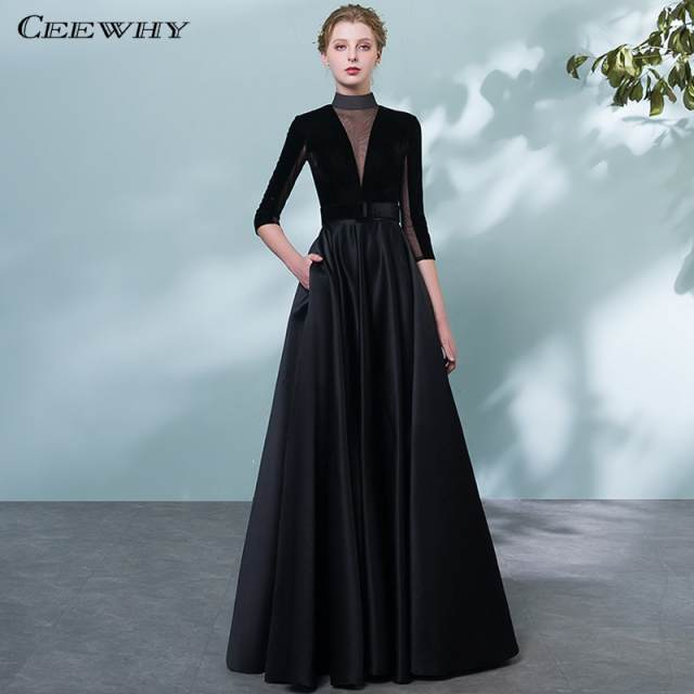 sale wholesale outlet price reduced US $80.4 40% OFF|CEEWHY High Collar Vintage Black Evening Dress Plus Size  Formal Dress Women Elegant Long Dresses Evening Gown Vestidos-in Evening ...