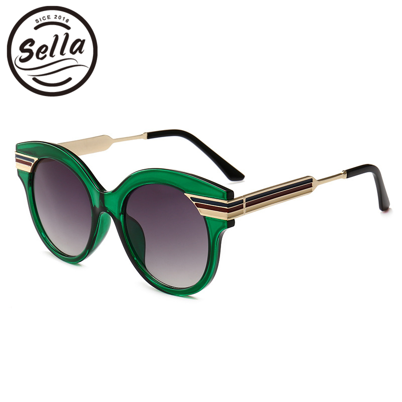 Sella New Fashion Thick Line Oversized Cateye Men Women Sunglasses Hot Sale Brand Designer Tending Luxury Gradient Lens Glasses