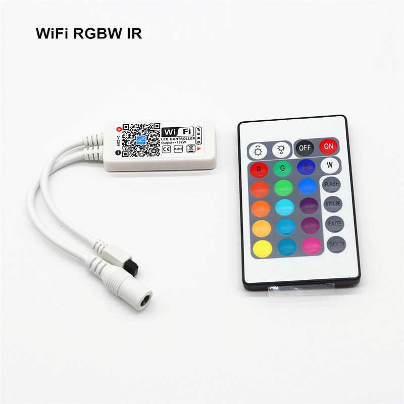Contrôleur Mini Bluetooth/WiFi DC 5 V 12 V 24 V APP téléphone Android IOS télécommande 24Key IR/21Key RF pour bande de LED rvb RGBW