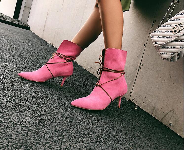Spitz Neueste Schuhe Echt Lace Heel Rosa Stiefeletten High 2018 Mode Frauen Wildleder Marke Designer Leder up Rf6fTw