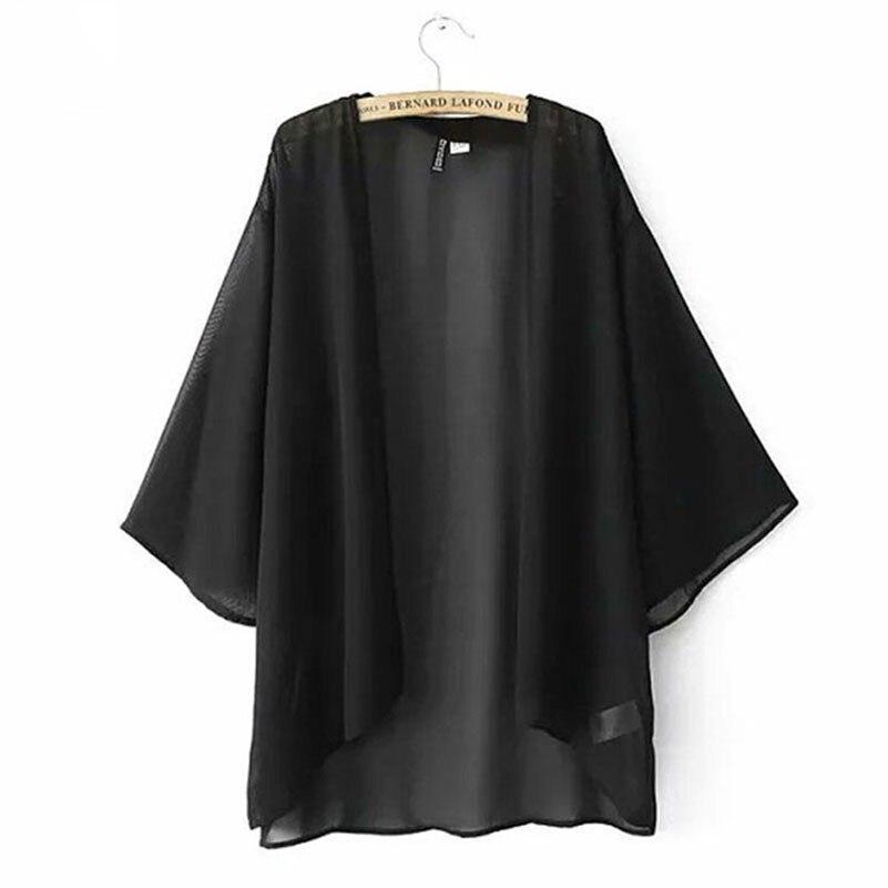 Solid Causal Kimono Cardigan Plus Size Batwing Sleeve Loose Women Blouses Elegant 2018 Sexy Black Summer Tops Beach **