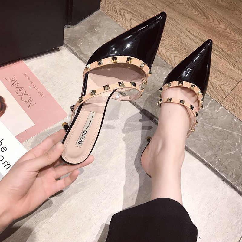 حذاء مولر بكعب عالي مدبب من الجلد الملون لصيف 2019 حذاء بنصف رأس ملفوف فرنسي للسيدات
