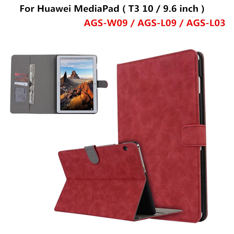 PU Leather Wallet Case Cover Skin For Huawei MediaPad T3 10 AGS-W09 AGS-L09 AGS-L03 9.6 / For Honor Play Pad 2 9.6 Funda Tablet folio slim cover case for huawei mediapad t3 7 0 bg2 w09 tablet for honor play pad 2 7 0 protective cover skin free gift