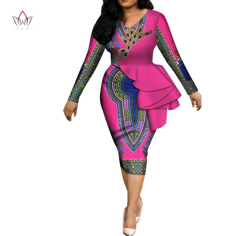 Mode 2019 printemps afrique robes pour femmes vestidos imprimer tissu élégant afrique vêtements volants vêtements africains BRW WY3582