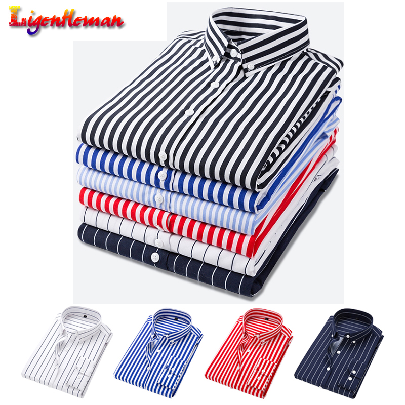 Quality Brand Mens Dress Shirts 2019 Spring Summer Casual Male Shirt Tops Plus size 5XL Striped Long Sleeves Camisa Masculina