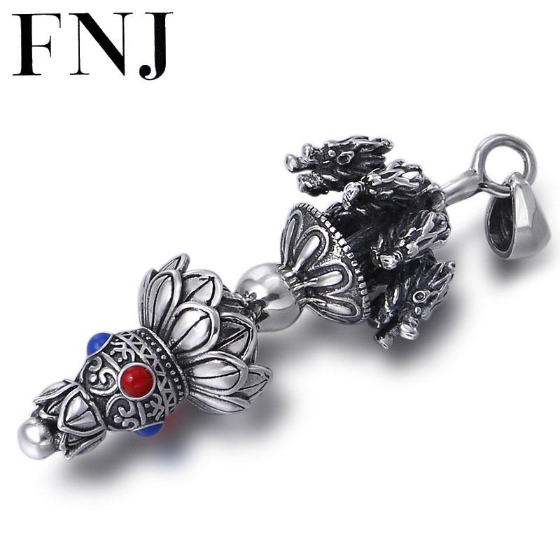 FNJ 925 pendentif en argent Dragon Vajra rouge pierre bleue accrocher Original pur S925 Thai argent pendentifs pour femmes fabrication de bijoux