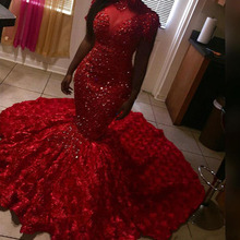 Gorgeous Beads Red Prom Dresses Mermaid High Neck Long Sleeves 3D Floral Sweep Train Evening Gowns Plus Size Red Carpet Dresses siku siku 1070 vw multivan