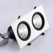 Free shipping 20W Double COB LED recessed down light 2x10W Square Dimmable Down Warm Cold White