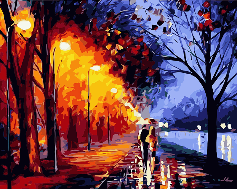 Rahmenlose bilder Digital öl malerei dekorative bilder handgemalte leinwand malerei durch zahlen 40*50 walking in regen