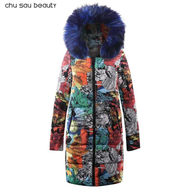 2019 women   parkas   big faux fur women's winter padded jackets warm fashion long sleeve zipper print ladies clothing