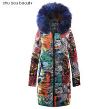 2019 women parkas big faux fur women's winter padded jackets warm fashion long sleeve zipper print ladies clothing(China)