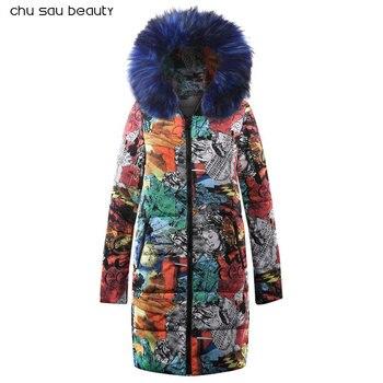 Big fur płaszcz zimowy zagęszczony parka kobiety szwy slim długi płaszcz zimowy dół bawełna panie dół parka dół kurtki kobiety