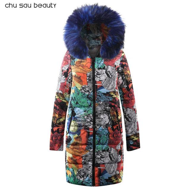 Big fur winter coat thickened parka women stitching slim long winter coat down cotton ladies down Oversize Coat Parka