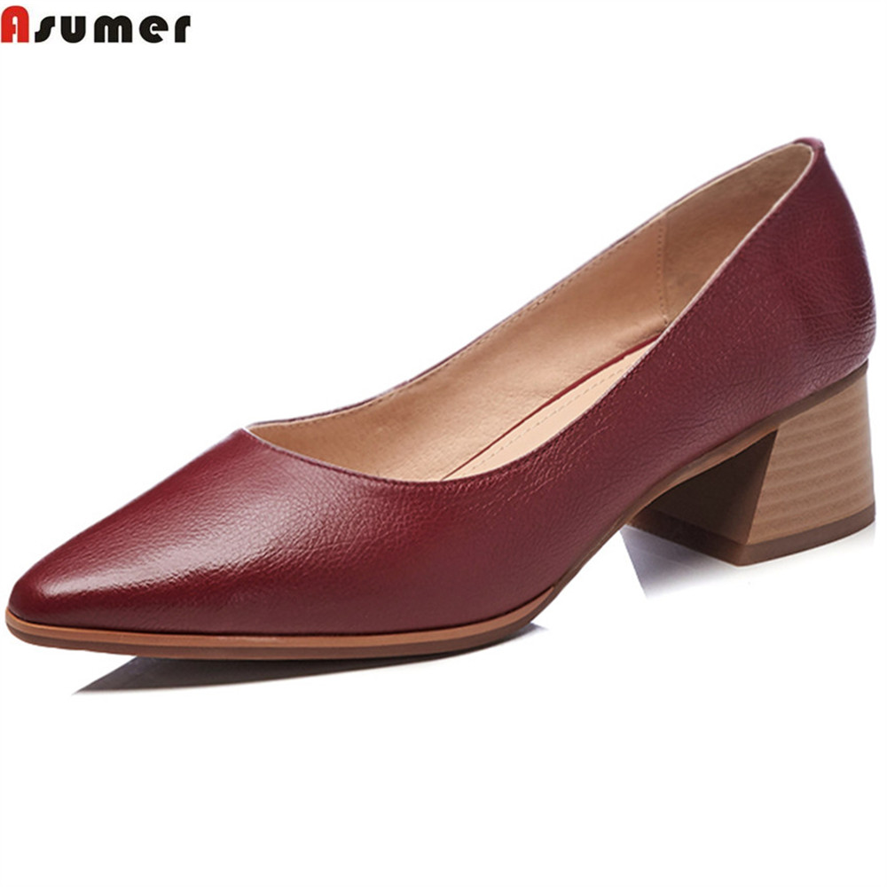 ASUMER black wine red apricot fashion spring autumn pumps shoes shallow pointed women genuine leather med heels shoes asumer black wine red 2018 spring autumn ladies pumps pointed toe shallow elegant dress shoes women high heels shoes size 43