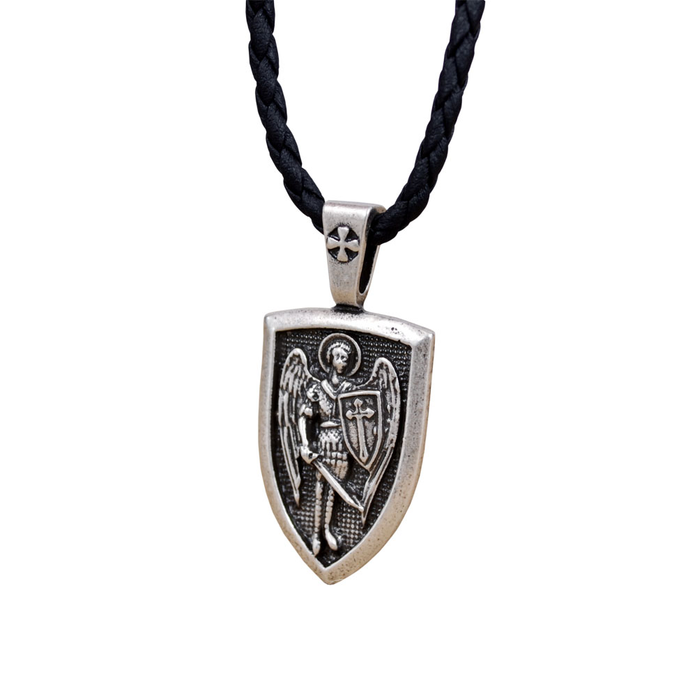 Men Necklace Archangel St.Michael Protect Me Saint Shield Protection Charm Russian Orhodox Pendant Necklace