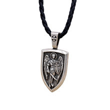 aaaa9127832 Men Necklace Archangel St.Michael Protect Me Saint Shield Protection Charm  Russian Orhodox Pendant Necklace