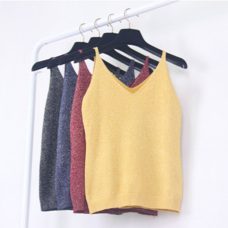 Sexy Knitted Tank Tops Women Gold Thread Top Vest Sequined V Neck Long Tank Tops Blusa Solid Silver Camis Beige Fitness Sweater(China)