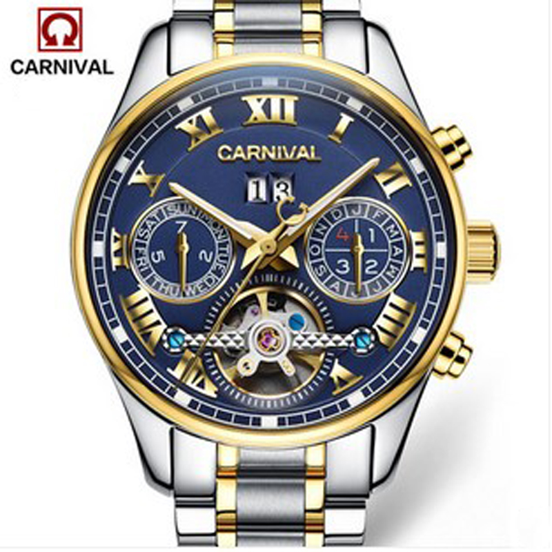 Carnival tourbillon automatic mechanical brand wristwatches fashion waterproof luminous men full steel watch leather strap clockCarnival tourbillon automatic mechanical brand wristwatches fashion waterproof luminous men full steel watch leather strap clock