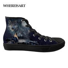 WHEREISART New Arrival Men Shoes Casual Breathable Animals Wolf Tiger Print Shoes Male Flats Canvas Vulcanize Shoes Teen Boys недорого
