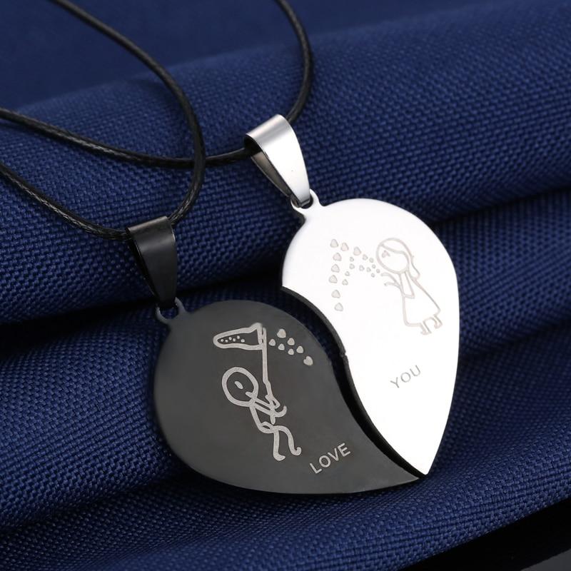Moda razbijeno srce Privjesak ljubavnik ogrlica koža lanac ogrlica - Modni nakit - Foto 3