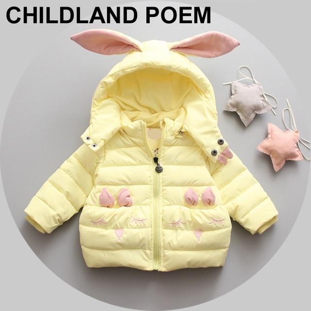 Девушки зимнее пальто верхняя одежда Дети вниз Куртки принцесса новорожденных девочек куртка Кролик мультфильм Теплый Clothing для девочек Одежда