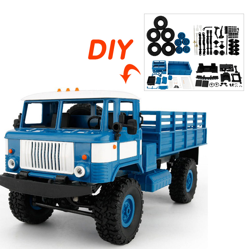 B-24/WPL DIY Racing Car Four-wheel Drive Climbing Vehicle Toy with LED Light 4 Channel DIY Racing Car Install Accesorries j084b diy small four wheel drive car interesting diy making for adults and children sell at a loss