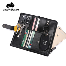 BISON DENIM New Male Genuine Leather Purse Men's Clutch Wallets Handy Bags Wallets Men Black Dollar Price N9304