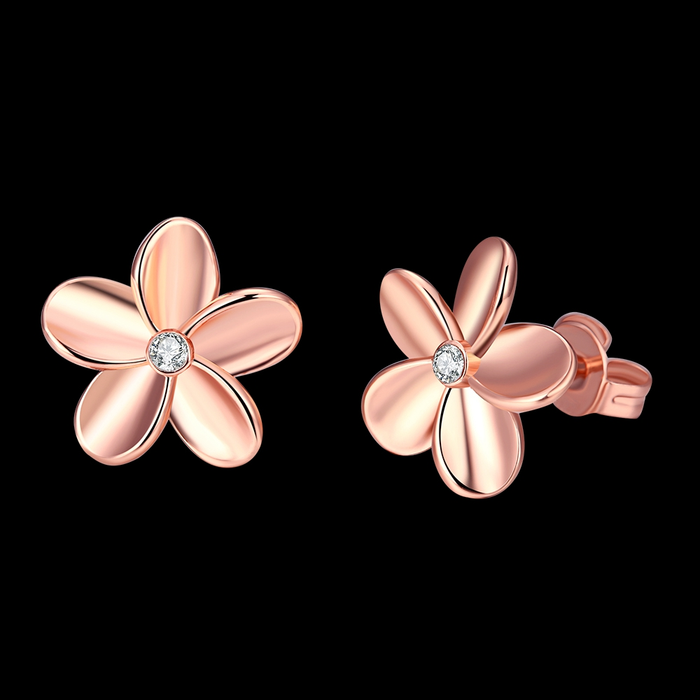 Hypoallergenic Earrings Low Price Rose Gold Color Single Crystal