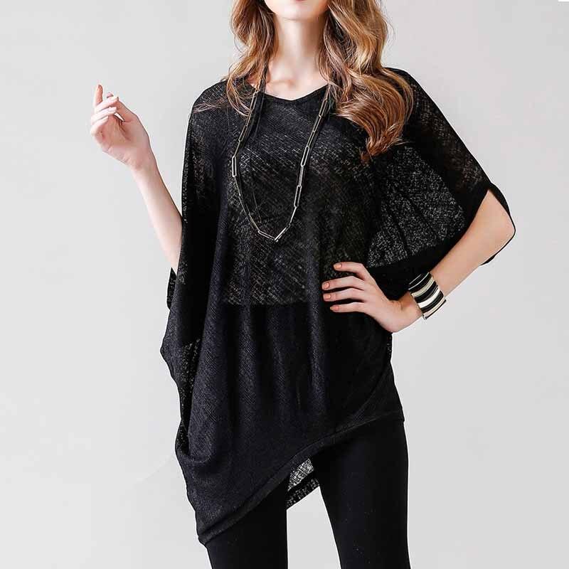 2018 Hot Sale Women Fashion Summer Round Neck Hollow Out Batwing Sleeve T-Shirt Women Summer Casual Long Tops Summer Cloth