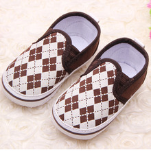 Fashion Plaid Slip On Baby Sneakers Anti Slip Baby Boy Shoes