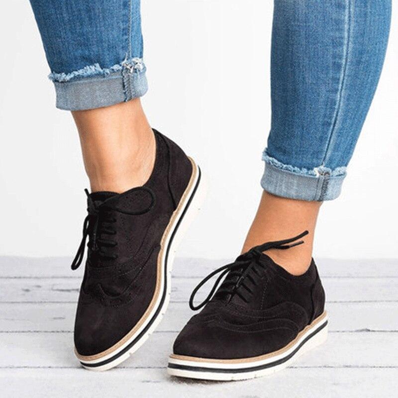 Plus Size Women Brogue Shoes Flat Platform Autumn England Ladies Shoes Oxfords 2019 Cut-Outs Lace Up Casual Female Footwear 5