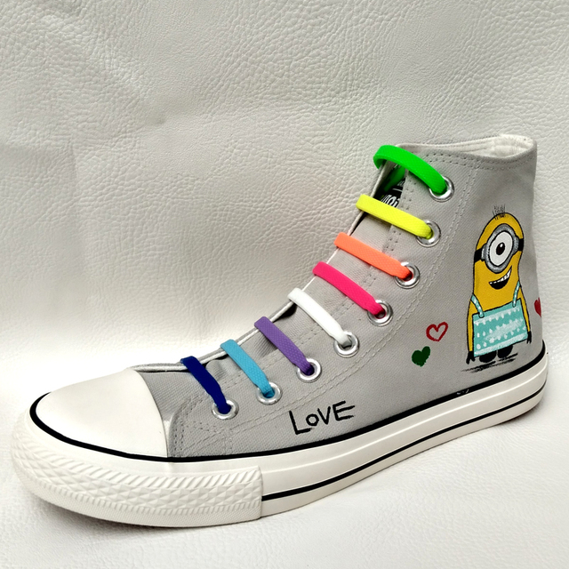 Custom Hand Painted Footwear with Lazy Shoelace
