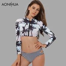 AONIHUA Palm print two piece swimsuit women Front zipper swimwear summer beach sun-resistant long sleeve swimming suit 1986 plus palm print bardot swimsuit