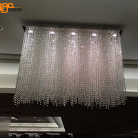 luxury design rectangular crystal chandelier modern living room kroonluchter lamparas de cristal LED light length 80cm