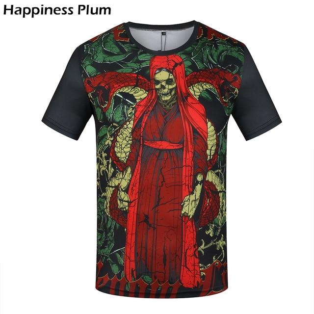 Zwart Rood Overhemd.Schedel T Shirt Mannen Punk T Shirt Hiphop Overhemd Mannen Merk
