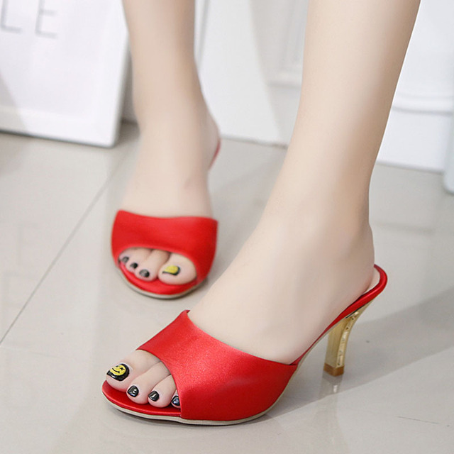 c1d32538546186 Ladies Flip Flops High Heel Slippers Women Pointed Toe Shoes Pantofle  Damskie Sandals Bridal Shoe Women 2017 Women Summer Shoes