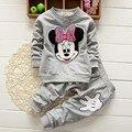 Niñas bebés que arropan la historieta de minnie mouse 2015 anutmn de algodón chándales casual kids ropa del desgaste de los niños se divierte el juego caliente