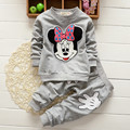 baby girls clothing sets cartoon minnie mouse 2015 anutmn children's wear cotton casual tracksuits kids clothes sports suit hot