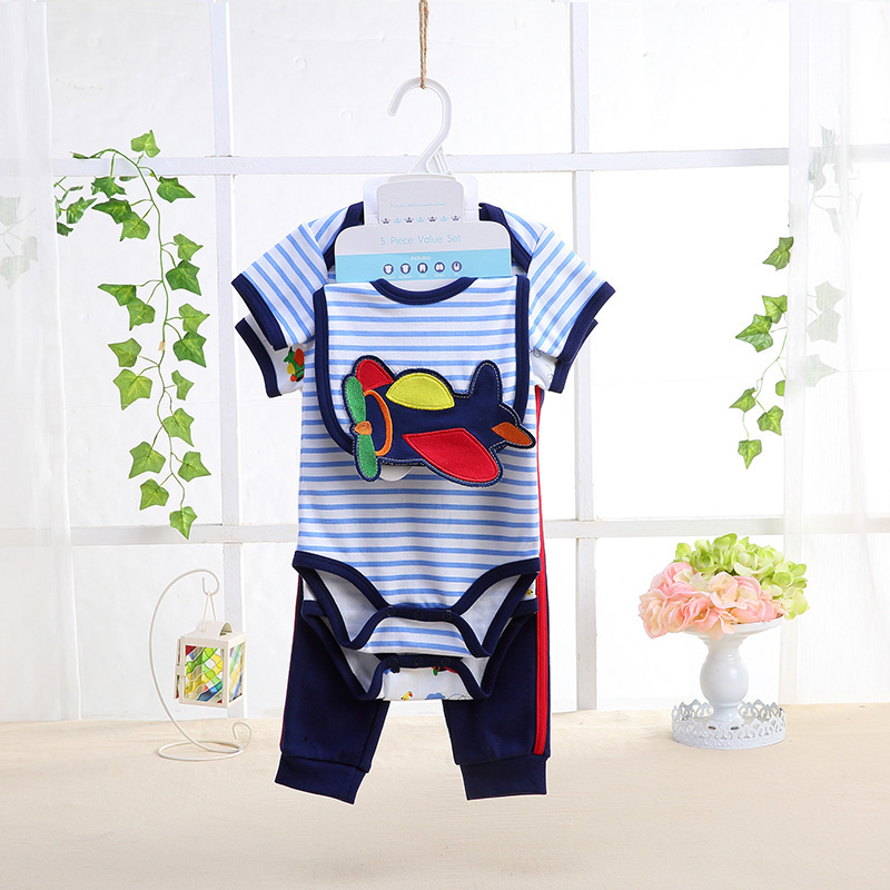 5 Pcs/set Baby Girl Clothes Bebe Bodysuit+Pant+Bib+Shoes 100% Cotton Baby Boy Clothes Newborn Bebe Clothing Sets for Summer shirt baby boy summer clothes shorts sets baby boy set 100 cotton newborn baby girl summer clothes infant clothing suit outfits