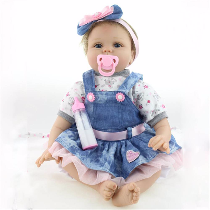 U-miss 22Inch Realistic Handmade Reborn Baby Newborn Lifelike Soft Vinyl Silicone Doll Girl With Denim Skirt Mohair