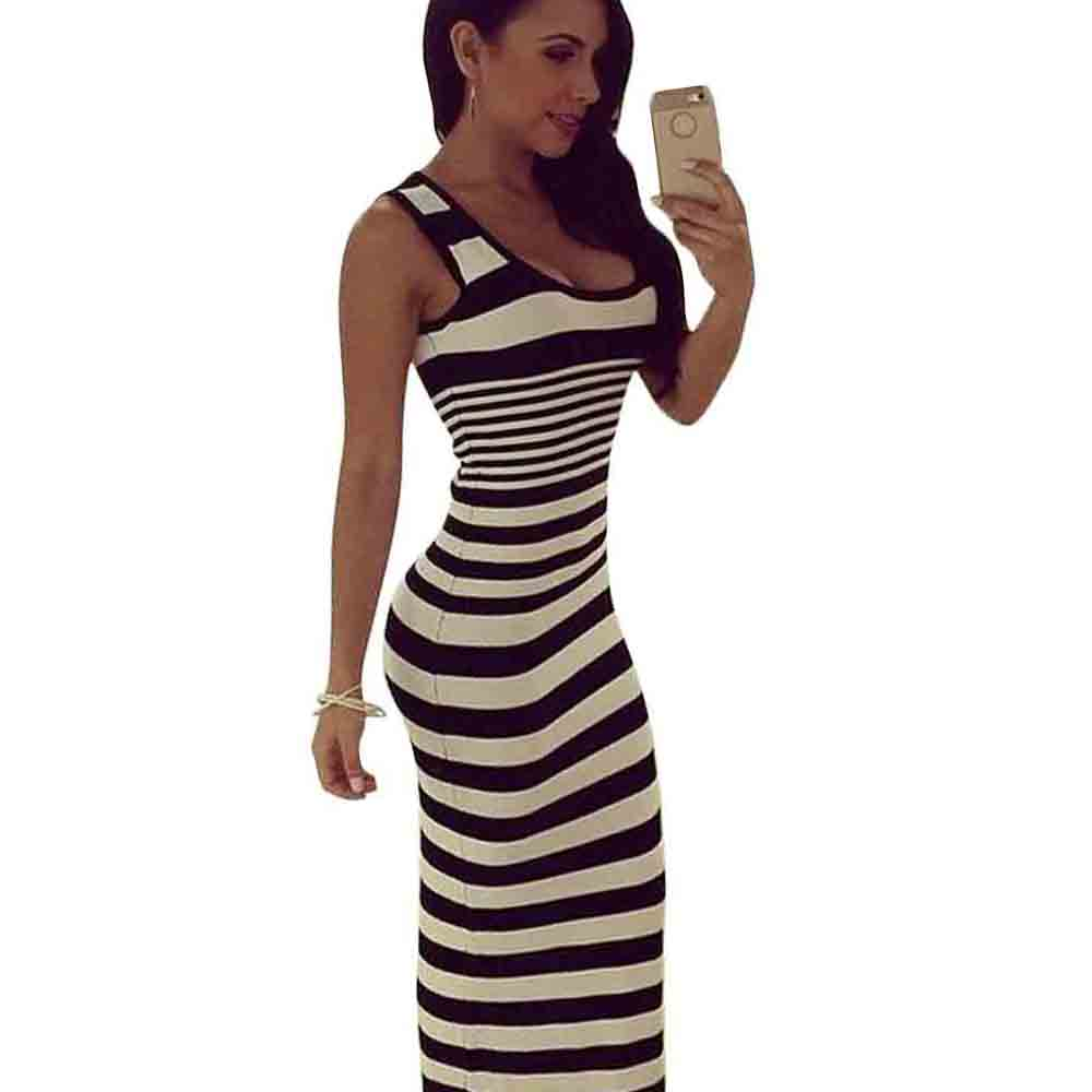 US $8.67 30% OFF|Long Tank Top Dress Summer Off Shoulder Stretch Striped  Dress Women Sleeveless Slim Maxi Dress 2017 Plus Size Body Party Dresses-in  ...