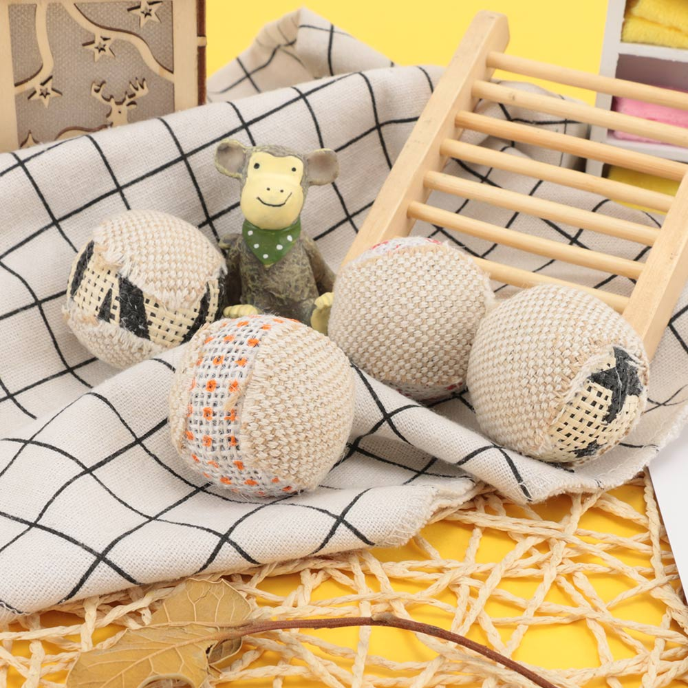 Lower Price with 4pcs/pack Cat Ball Toy For Puppy Cat Interactive Playing Chew Toy Rattle Scratch Ball For Pet Exrecise Cat Training Supplies Structural Disabilities Cat Toys Home & Garden